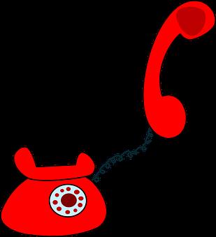 Telephone, Set, Red, Rotary, Dial, Retro