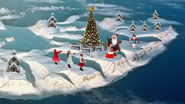 Christmas, Tree, Snow, Santa Claus, Fantasy