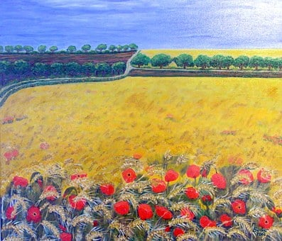 Cereals, Field, Painting, Image, Art
