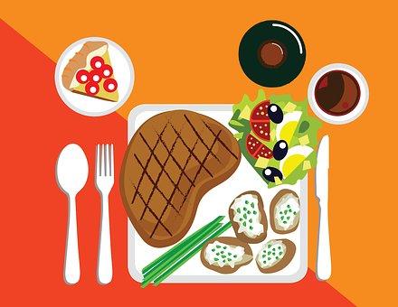 Steak, Potato, Salad, Dinner Plate