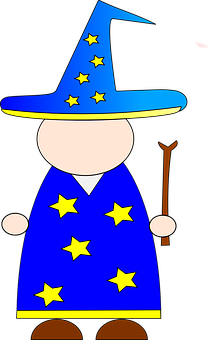 Wizard, Hat, Wand, Robe, Stars, Blank, Face, Magical
