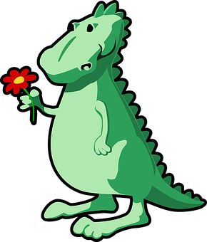 Dino, Dinosaur, Dragon, Flower, Tale