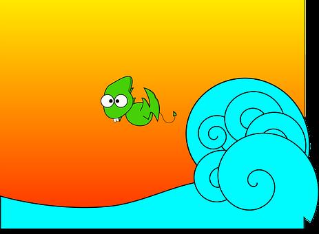 Dragon, Dino, Dinosaur, Fun, Pterodactyl, Wave, Surf