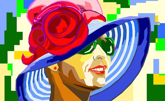 Wpap, Wpap Portrait, Woman, Hat, Colorful, Rose, Face
