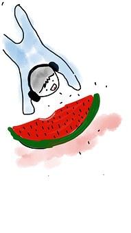 Music, Watermelon, Summer, Kid, Cheerful