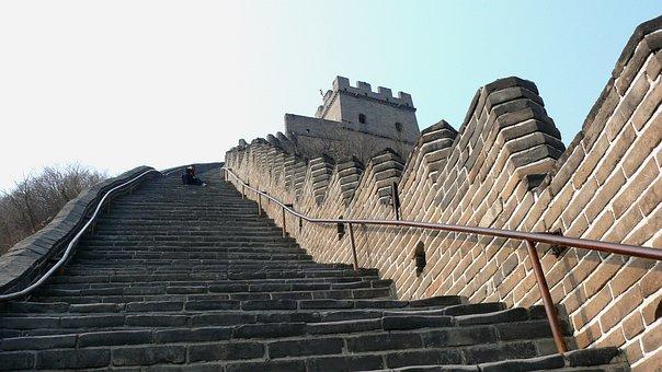 China, Wall, Asia, Steep, Landscape
