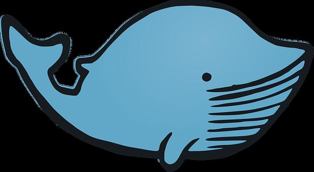 Whale, Animal, Cartoon, Happy, Funny, Fish, Blue Happy