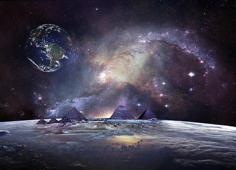 Galaxy, Space, Pyramids, Fantasy, Cosmos