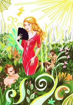 Woman, Flora, Drawing, Red, Dress, Plant, Subjects