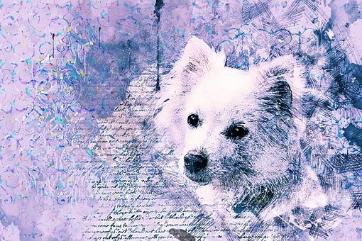 Dog, Art, Abstract, Watercolor, Vintage