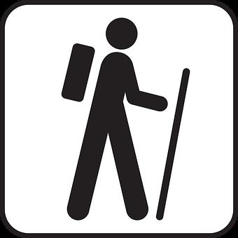 Hiking, Rambling, Wandering, Backpack, Symbol, Sign