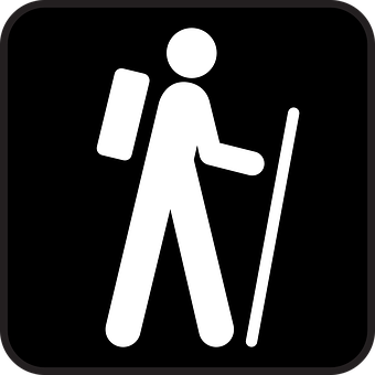 Hiking, Rambling, Wandering, Backpack, Black, Symbol