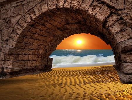 Sunset, Sea, Bridge, Beach, Romantic