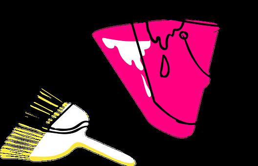 Paint, Brush, Paintbrush, Tool, Bucket, Line Art