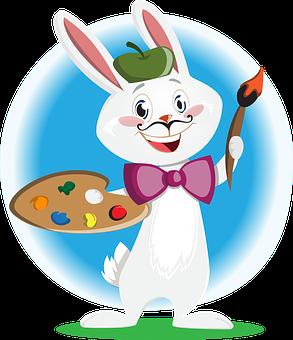 Bunny, Artist, Character, Animal, Painter, Mustache