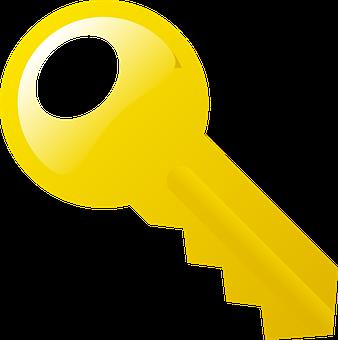 Golden, Yellow, Key, Metal, Lock, Device, Open, Close