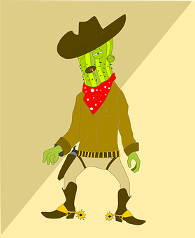 Cactus, Character, Man, Western, Cowboy, Duel
