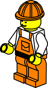 Lego, Toy, Man, Repairs, Construction Worker, Orange