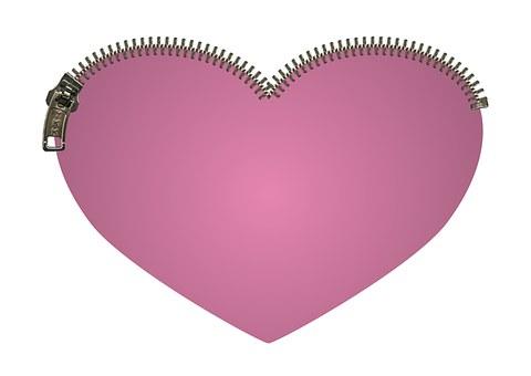 Heart, Zipper, Zip, Pink, Cerise, Love, Close, Safe