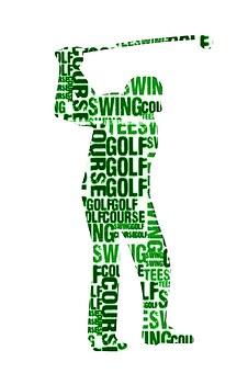 Golf, Sport, Silhouette, Cloud, Words, Recreation