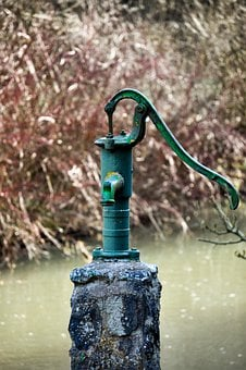 Faucet, Pump, Fountain, Water, Metal, Garden, Podium
