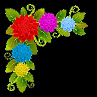 Flowers, Floral, Dahlias, Spring, Corner, Frame