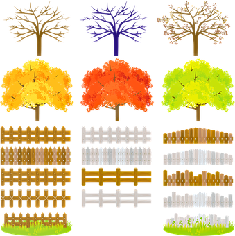 Landscaping, Trees, Fence, Grass, Bare Tree, Fall Trees