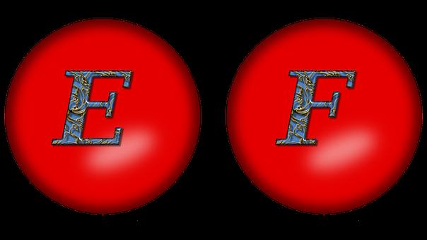 Alphabet, Large Letter E, Large Letter F