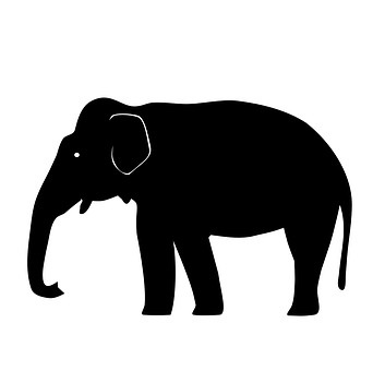 Elephant, Asian, Silhouette, Graphic, Drawing, Iconic