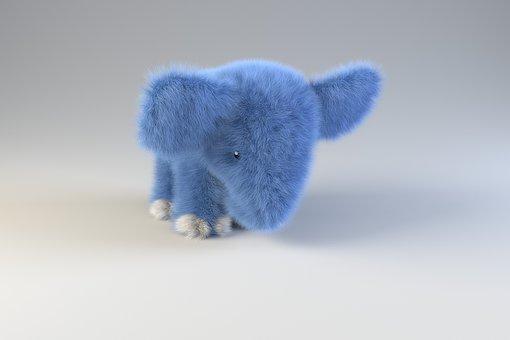 Blue Elephant, Elephant, Teddy Elephant, Toy Elephant