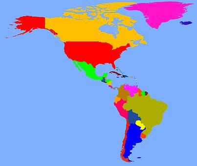Map, America, Continents, North America, South America