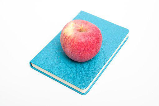 Apple, Book, Read, Office, Work, Blue, Knowledge
