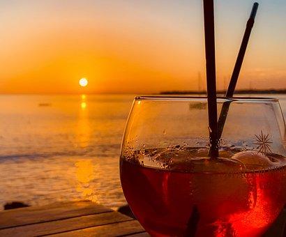 Cocktail, Evening, Sun, Drink, Bar, Glass, Orange, Red