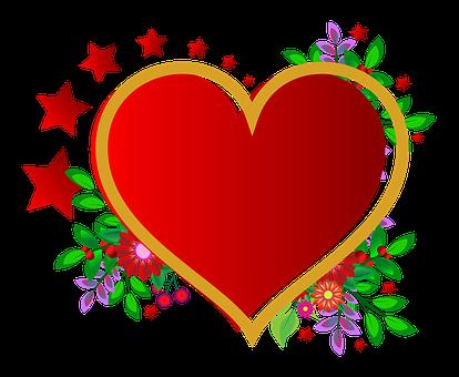 Photo Frame, Heart, Red, Flowers, Wedding, Love