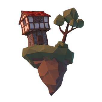Lowpoly, 3d, Blender, Polygon, Tree, House