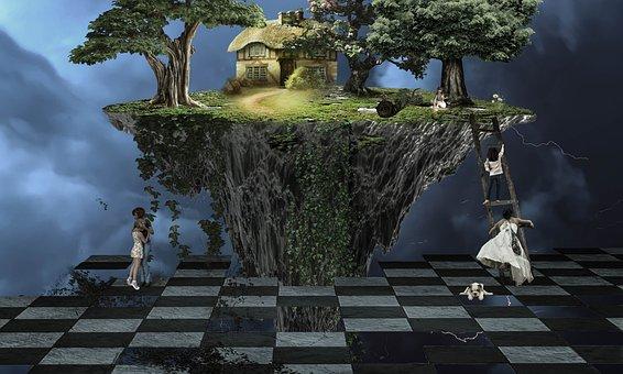 Fantasy, Sky, Thunderstorm, Flying Island, Human, Trees