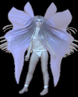 Woman, Ice Angel, Tube, Wing, Hair, Skin, Pose