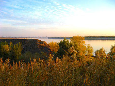 Volga, River, Autumn, Nature, Dawn, Landscape, Morning