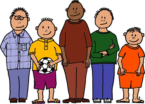 Ball, Colour, Five Young Boys, Four Different Sizes