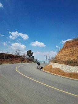 Blue Sky, Bike, Biker, Road, Way, Hill, Curve, Mountain