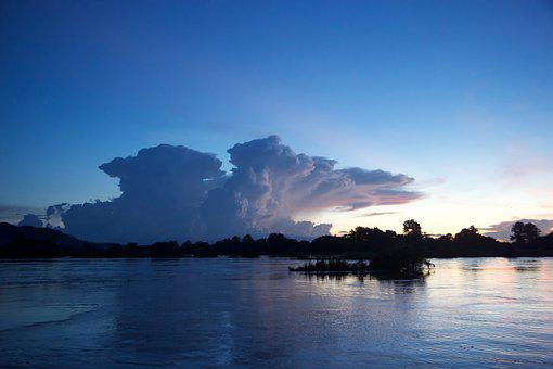 Laos, Sunset, The Mekong River, Blue, In The Evening