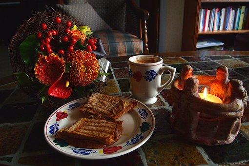 Breakfast, Sandwich, Board, Mug, Candle Light, Dark