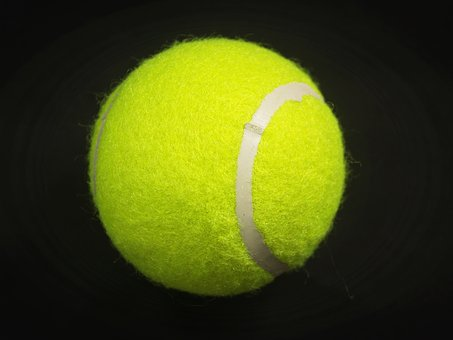 Ball, Racket, White, Yellow, Background, Closeup