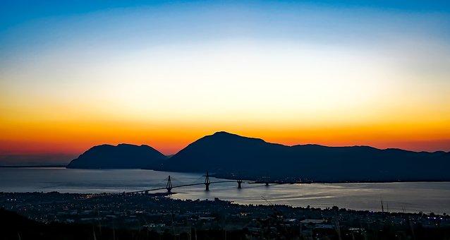 Patras, Greece, Sunset, Mountains, Sky, Clouds, Bridge