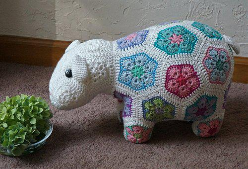Crocheted Happy Lamb, African Flower Design