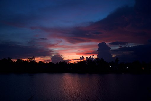 Sunset, Laos, The Mekong River, In The Evening, Dark