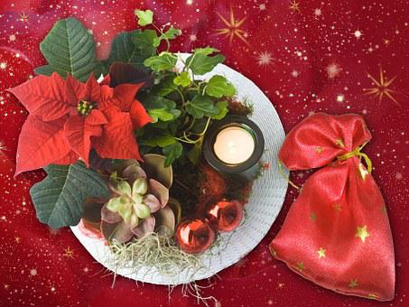 Christmas, Decoration, Plate, Nicholas, Gifts, Bag, Red