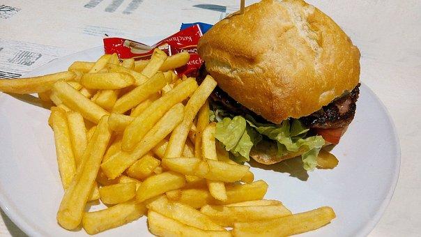 Burger, Food, French Fries, Potato Chips, Dish, Menu