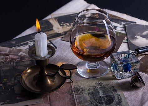 Candle, Retro, Vintage, Cognac, Evening, Cards, Money