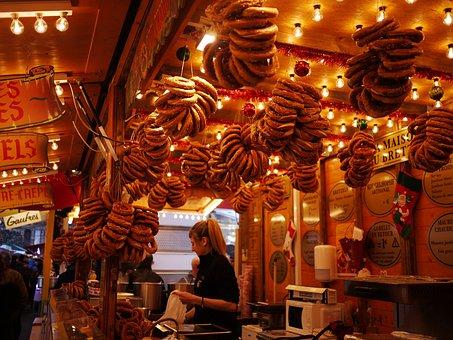 Pretzels, Market, Strasbourg, France, Food, Pretzel
